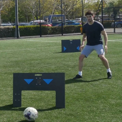 Young man training with wireless panels sports technology