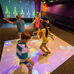 Kids active gaming with BEAM interactive floor