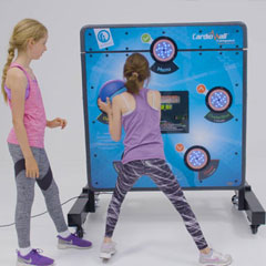 CardioWall Compact reaction wall with girl on trampoline
