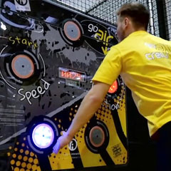 Rugged Interactive CardioWall FreeStyle reaction wall in trampoline park
