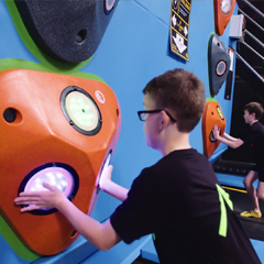 Kids compete with Rugged Interactive High-9 in trampoline centre