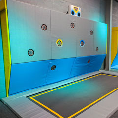 Trampoline park installation with Rugged Interactive SkyPods exergame