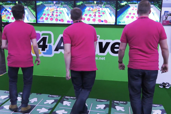 Players participate in active gaming with CSE Entertainment 4-Active multiplayer system with ActivePad