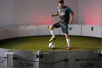 Football player Adam Lallana practices with ESA ICON Arena