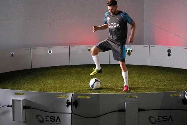 Soccer player Adam Lallana trains with ICON Arena by Elite Skills Area