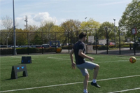Football player practices with ESA Wireless Panels