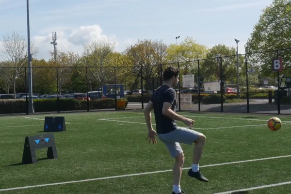 Soccer player trains with Wireless Circuit by Elite Skills Area