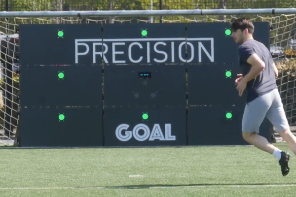 Soccer player practices with Wireless Panels by Elite Skills Area