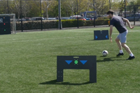Young footballer with ESA Wireless Panels sports technology training system